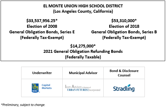 EL MONTE UNION HIGH SCHOOL DISTRICT (Los Angeles County, California) $33,537,956.25* Election of 2008 General Obligation Bonds, Series E (Federally Tax-Exempt) $53,310,000* Election of 2018 General Obligation Bonds, Series B (Federally Tax-Exempt) $14,275,000* 2021 General Obligation Refunding Bonds (Federally Taxable) POS POSTED 7-21-21