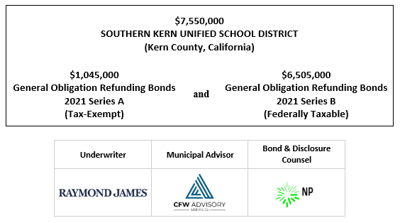 $7,550,000 SOUTHERN KERN UNIFIED SCHOOL DISTRICT (Kern County, California) $1,045,000 General Obligation Refunding Bonds and 2021 Series A (Tax-Exempt) 6,505,000 General Obligation Refunding Bonds 2021 Series B (Federally Taxable) FOS POSTED 9-24-21