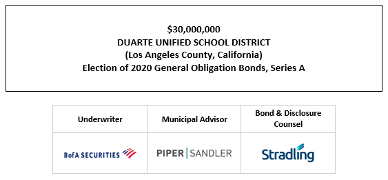 $30,000,000 DUARTE UNIFIED SCHOOL DISTRICT (Los Angeles County, California) Election of 2020 General Obligation Bonds, Series A FOS POSTED 9-29-21