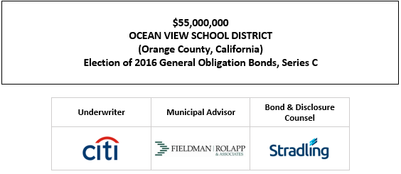 $55,000,000 OCEAN VIEW SCHOOL DISTRICT (Orange County, California) Election of 2016 General Obligation Bonds, Series C FOS POSTED 9-29-21