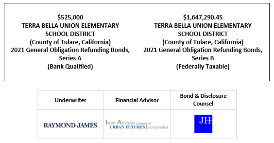 $525,000 TERRA BELLA UNION ELEMENTARY SCHOOL DISTRICT (County of Tulare, California) 2021 General Obligation Refunding Bonds, Series A (Bank Qualified) $1,647,290.45 TERRA BELLA UNION ELEMENTARY SCHOOL DISTRICT (County of Tulare, California) 2021 General Obligation Refunding Bonds, Series B (Federally Taxable) FOS POSTED 9-28-21