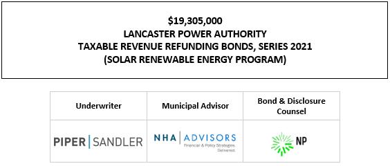$19,305,000 LANCASTER POWER AUTHORITY TAXABLE REVENUE REFUNDING BONDS, SERIES 2021 (SOLAR RENEWABLE ENERGY PROGRAM) FOS POSTED 9-30-21