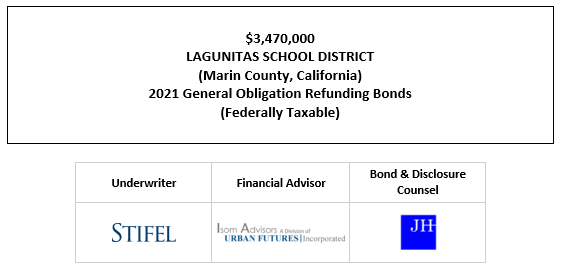 $3,470,000 LAGUNITAS SCHOOL DISTRICT (Marin County, California) 2021 General Obligation Refunding Bonds (Federally Taxable) FOS POSTED 9-29-21