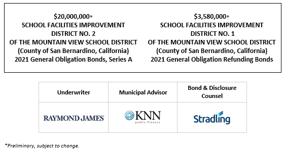 SUPPLEMENT TO PRELIMINARY OFFICIAL STATEMENT relating to $20,000,000 SCHOOL FACILITIES IMPROVEMENT DISTRICT NO. 2 OF THE MOUNTAIN VIEW SCHOOL DISTRICT (County of San Bernardino, California) 2021 General Obligation Bonds, Series A $3,580,000 SCHOOL FACILITIES IMPROVEMENT DISTRICT NO. 1 OF THE MOUNTAIN VIEW SCHOOL DISTRICT (County of San Bernardino, California) 2021 General Obligation Refunding Bonds SUPPLEMENT POSTED 9-27-21