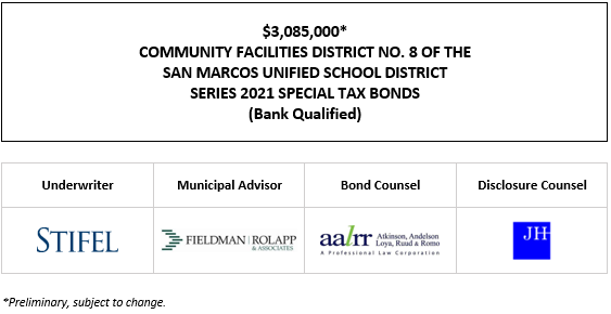 $3,085,000* COMMUNITY FACILITIES DISTRICT NO. 8 OF THE SAN MARCOS UNIFIED SCHOOL DISTRICT SERIES 2021 SPECIAL TAX BONDS (Bank Qualified) POS POSTED 9-23-21