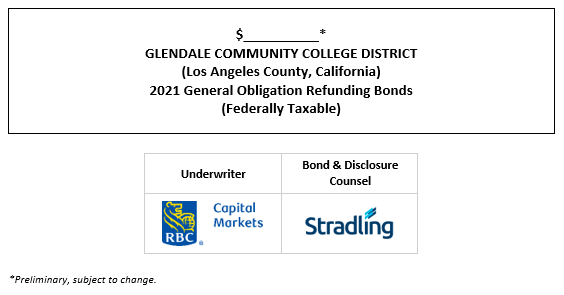 $__________* GLENDALE COMMUNITY COLLEGE DISTRICT (Los Angeles County, California) 2021 General Obligation Refunding Bonds (Federally Taxable) POS POSTED 9-23-21