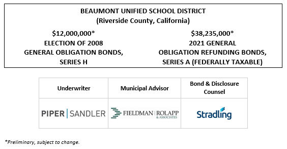 BEAUMONT UNIFIED SCHOOL DISTRICT (Riverside County, California) $12,000,000* ELECTION OF 2008 GENERAL OBLIGATION BONDS, SERIES H $38,235,000* 2021 GENERAL OBLIGATION REFUNDING BONDS, SERIES A (FEDERALLY TAXABLE) POS POSTED 9-27-21