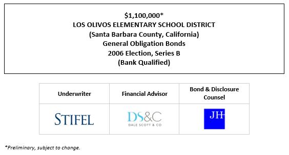 $1,100,000* LOS OLIVOS ELEMENTARY SCHOOL DISTRICT (Santa Barbara County, California) General Obligation Bonds 2006 Election, Series B (Bank Qualified) POS POSTED 9-28-21