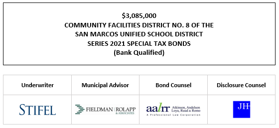 $3,085,000 COMMUNITY FACILITIES DISTRICT NO. 8 OF THE SAN MARCOS UNIFIED SCHOOL DISTRICT SERIES 2021 SPECIAL TAX BONDS (Bank Qualified) FOS POSTED 10-12-21