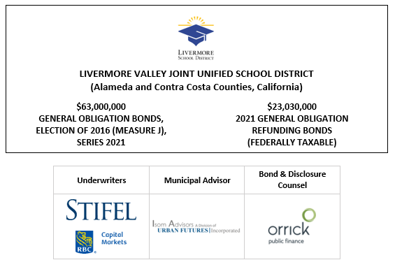 LIVERMORE VALLEY JOINT UNIFIED SCHOOL DISTRICT (Alameda and Contra Costa Counties, California) $63,000,000 GENERAL OBLIGATION BONDS, ELECTION OF 2016 (MEASURE J), SERIES 2021 $23,030,000 2021 GENERAL OBLIGATION REFUNDING BONDS (FEDERALLY TAXABLE) FOS POSTED 10-13-21
