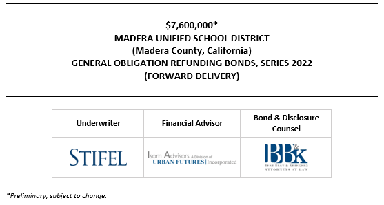 $7,600,000* MADERA UNIFIED SCHOOL DISTRICT (Madera County, California) GENERAL OBLIGATION REFUNDING BONDS, SERIES 2022 (FORWARD DELIVERY) POS POSTED 9-30-21