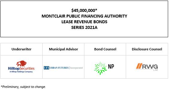 $45,000,000* MONTCLAIR PUBLIC FINANCING AUTHORITY LEASE REVENUE BONDS SERIES 2021A POS POSTED 10-4-21