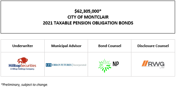 $62,305,000* CITY OF MONTCLAIR 2021 TAXABLE PENSION OBLIGATION BONDS POS POSTED 10-4-21