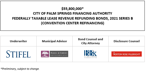 $55,800,000* CITY OF PALM SPRINGS FINANCING AUTHORITY FEDERALLY TAXABLE LEASE REVENUE REFUNDING BONDS, 2021 SERIES B (CONVENTION CENTER REFINANCING) POS POSTED 10-5-21