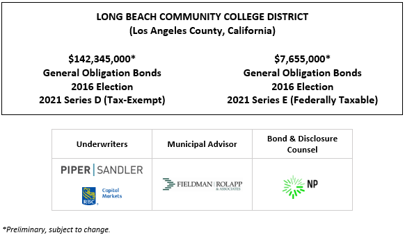 LONG BEACH COMMUNITY COLLEGE DISTRICT (Los Angeles County, California)$142,345,000* General Obligation Bonds 2016 Election 2021 Series D (Tax-Exempt) $7,655,000* General Obligation Bonds 2016 Election 2021 Series E (Federally Taxable) POS POSTED 10-5-21
