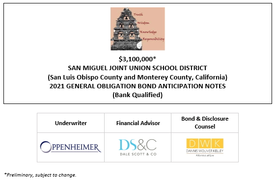 $3,100,000* SAN MIGUEL JOINT UNION SCHOOL DISTRICT (San Luis Obispo County and Monterey County, California) 2021 GENERAL OBLIGATION BOND ANTICIPATION NOTES (Bank Qualified) POS POSTED 10-7-21