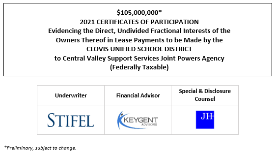$105,000,000* 2021 CERTIFICATES OF PARTICIPATION Evidencing the Direct, Undivided Fractional Interests of the Owners Thereof in Lease Payments to be Made by the CLOVIS UNIFIED SCHOOL DISTRICT to Central Valley Support Services Joint Powers Agency (Federally Taxable) POS POSTED 10-12-21