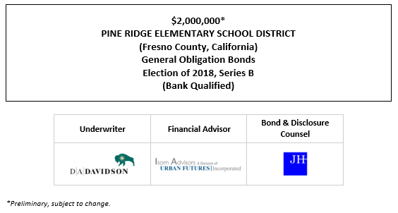 $2,000,000* PINE RIDGE ELEMENTARY SCHOOL DISTRICT (Fresno County, California) General Obligation Bonds Election of 2018, Series B (Bank Qualified) POS POSTED 10-14-21