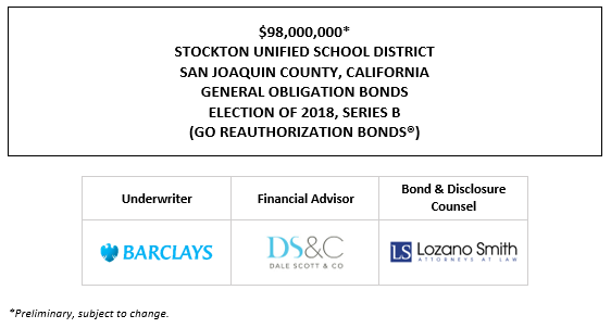 $98,000,000* STOCKTON UNIFIED SCHOOL DISTRICT SAN JOAQUIN COUNTY, CALIFORNIA GENERAL OBLIGATION BONDS ELECTION OF 2018, SERIES B (GO REAUTHORIZATION BONDS®) POS POSTED 10-14-21