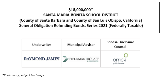 $18,000,000* SANTA MARIA-BONITA SCHOOL DISTRICT (County of Santa Barbara and County of San Luis Obispo, California) General Obligation Refunding Bonds, Series 2021 (Federally Taxable) POS POSTED 10-14-21